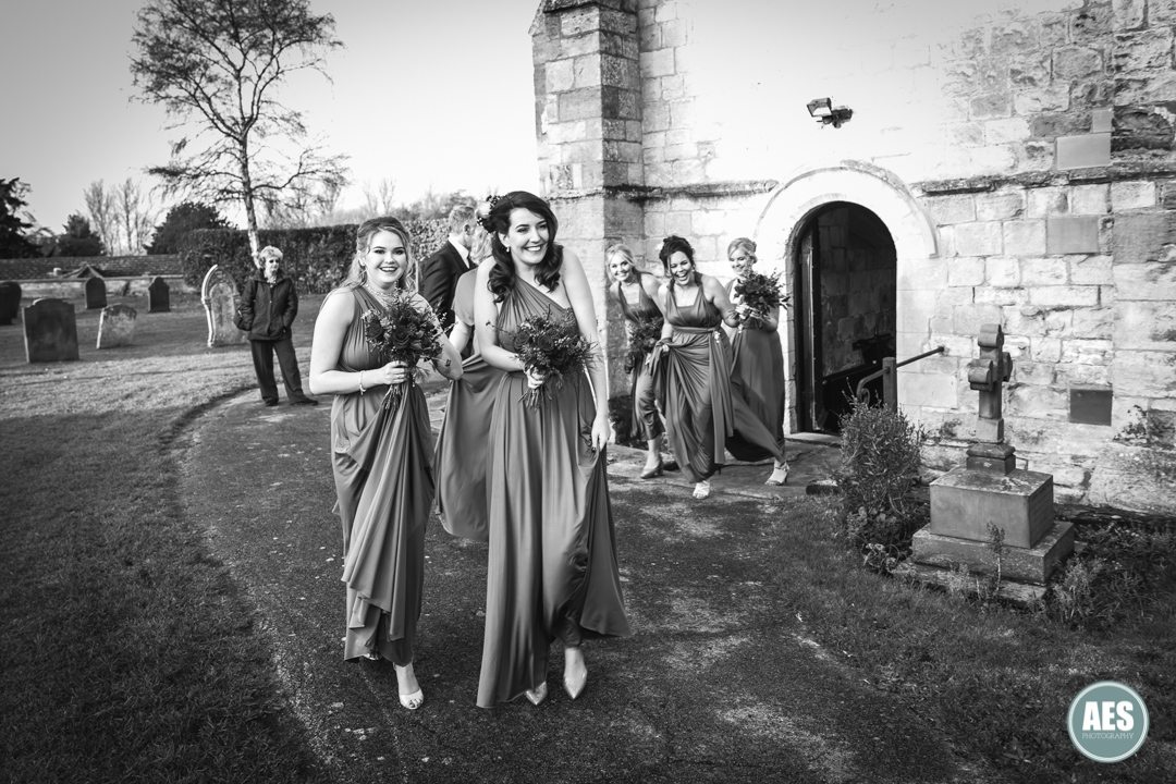 Bridesmaids arriving at St Mary and Martins Church in Blyth