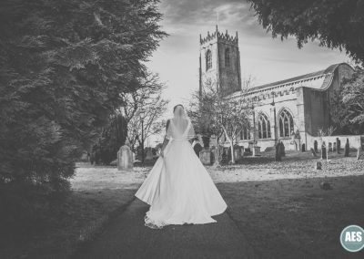 Bride arriving at St Mary and Martins Church in Blyth