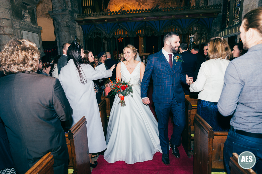 Bride and Groom exiting St Mary and Martins Church in Blyth