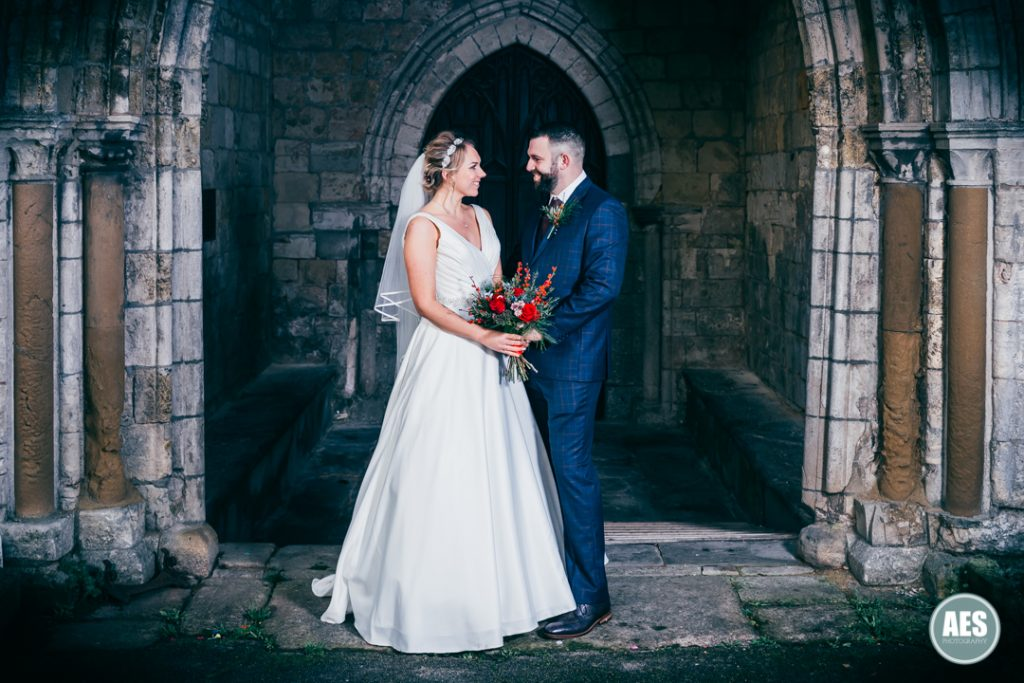Bride and Groom at St Mary and Martins Church in Blyth