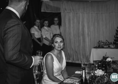 Bride during speeches at Barnby Memorial Hall in Blyth