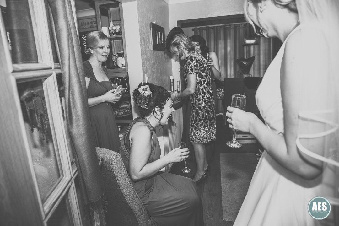 Bridal preparations laughter