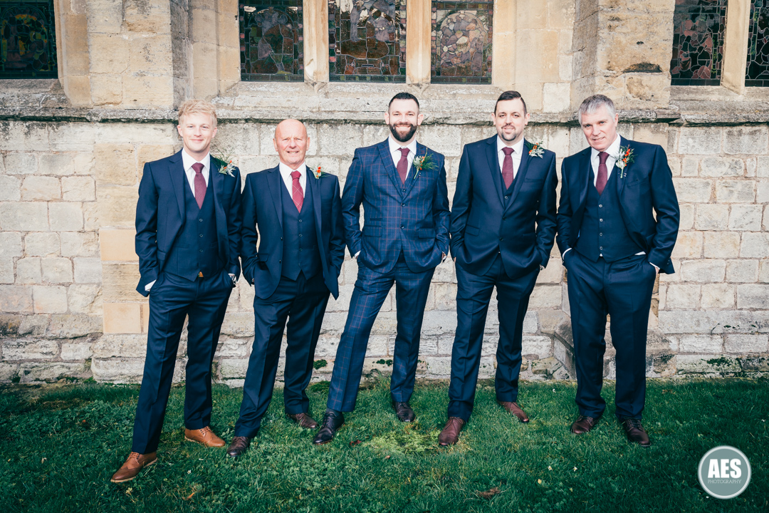 Groomsmen outside St Mary and Martins Church in Blyth