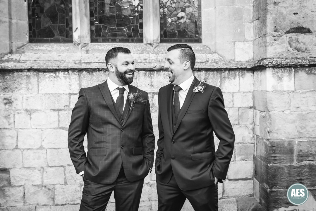 Groom and bestman outside St Mary and Martins Church in Blyth