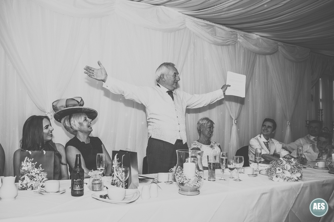 Groom speech at Hotel Van Dyk, Derbyshire