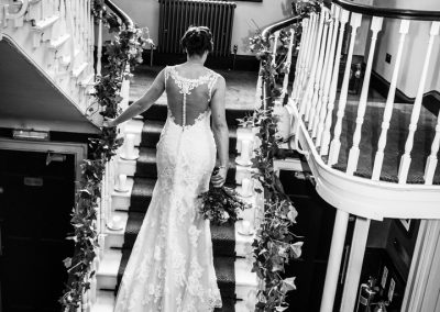 Bride on stairs at Hotel Du Vin in York