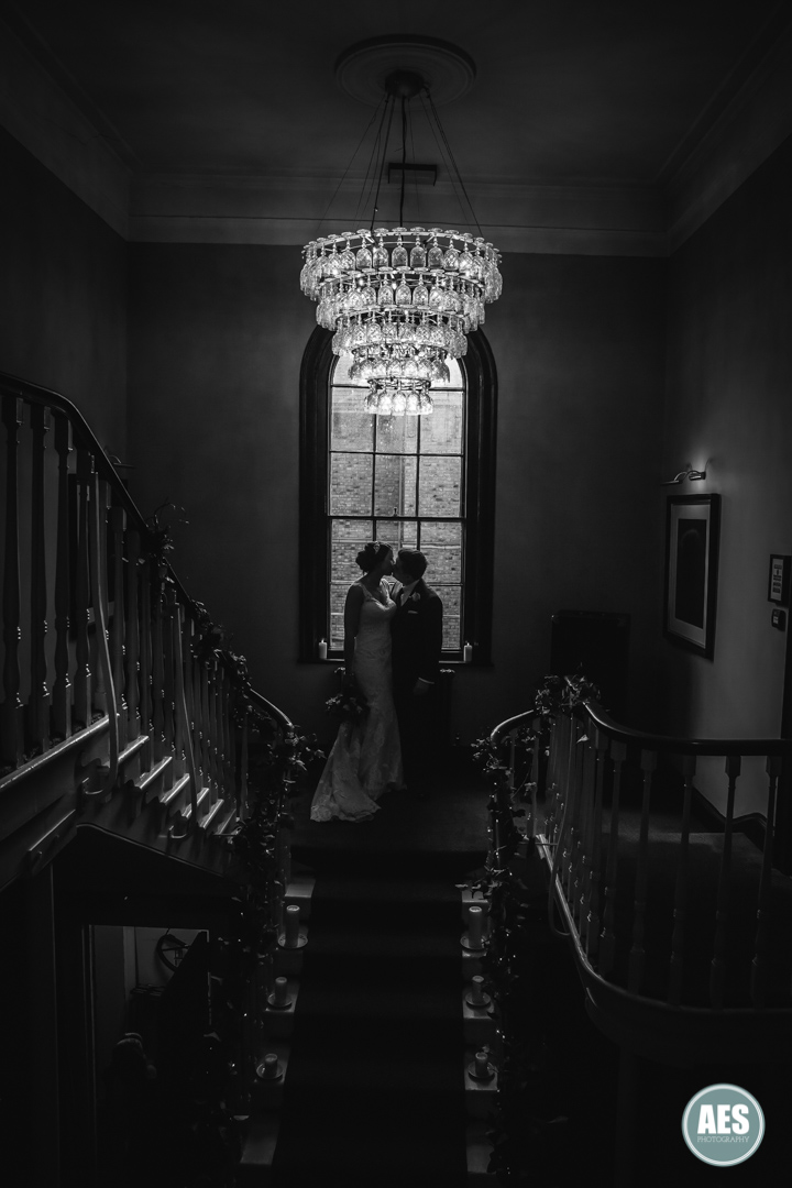 Bride and Groom on stairs at Hotel Du Vin in York