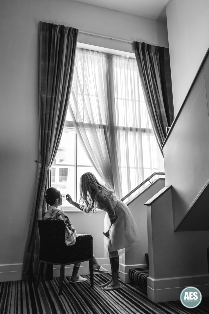Bridal preparations at Leopold Hotel in Sheffield