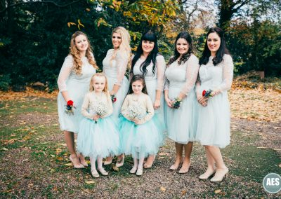 Autumn wedding bridesmaids at Wood Lane Countryside Centre