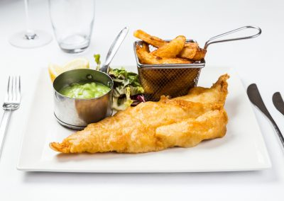Fish and Chips Food Photography at Hotel Van Dyk in Derbyshire