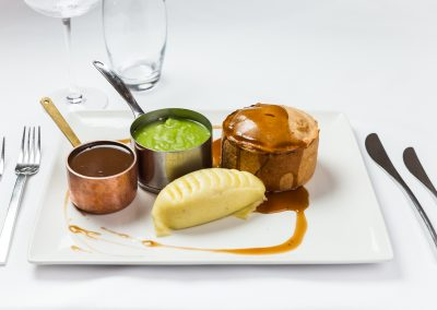 Steak pie Food Photography at Hotel Van Dyk in Derbyshire