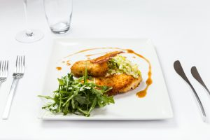 Chicken Escallops Food Photography at Hotel Van Dyk in Derbyshire