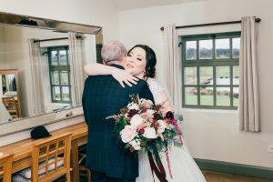 Father of the bride first look at The Ashes Country House wedding venue