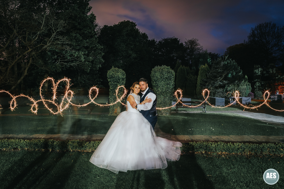 Whiteley Hall wedding with sparkler love heart