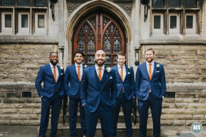 Groomsmens at Newark Castle in Nottinghamshire