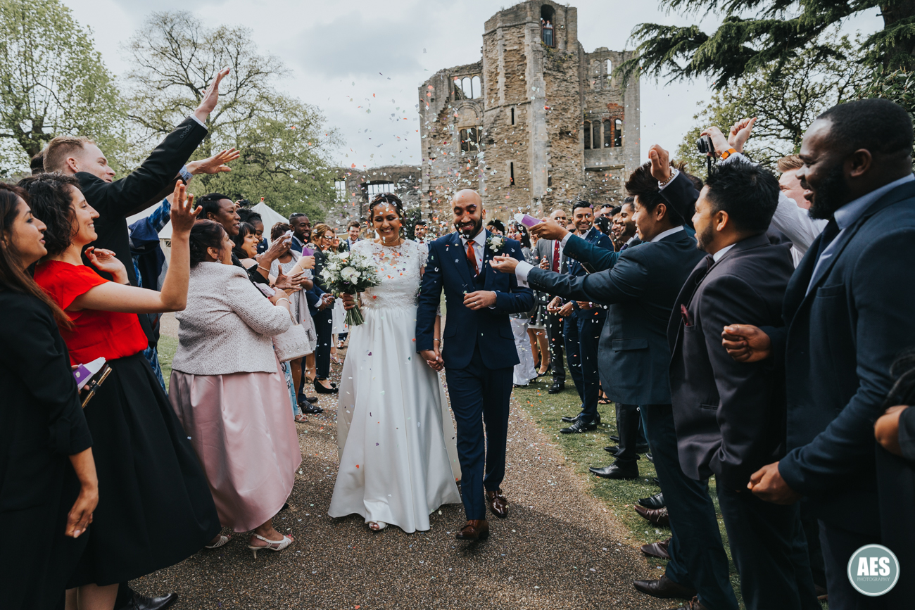 Confetti throw at Newark Castle in Nottinghamshire