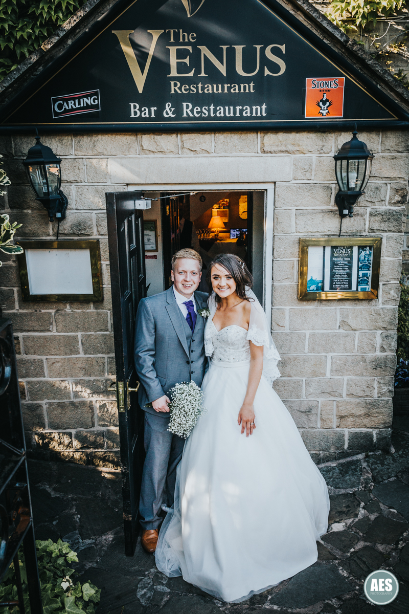 Bride and groom at the Venus Restaurant in Dinnington