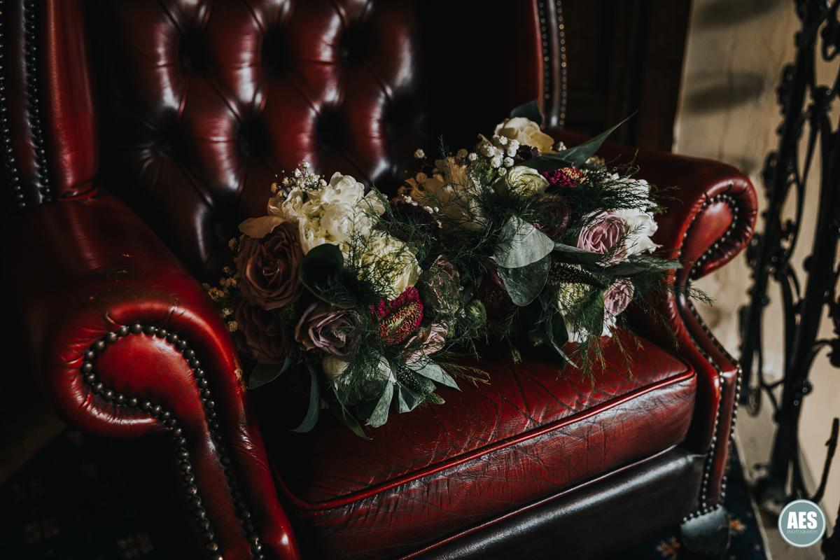 Wedding flowers bouquet dark red