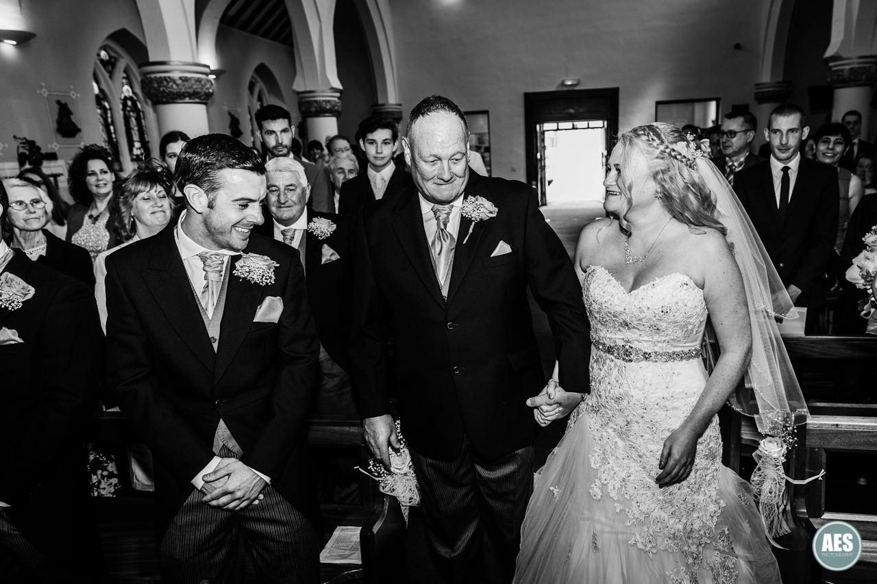 Bride and Groom wedding at St Josephs in Shirebrook