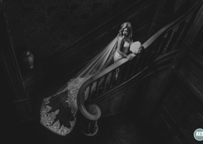 Thornbridge Hall Bride on stairs