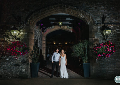 Bride and Groom night entrance at Thornbridge Hall