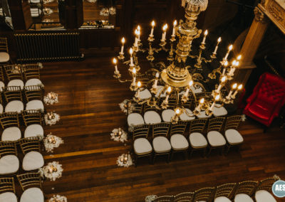 Thornbridge Hall chandelier wedding in great hall