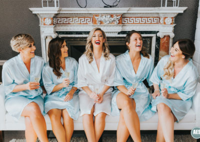 Thornbridge Hall bridal preparations with bridesmaids