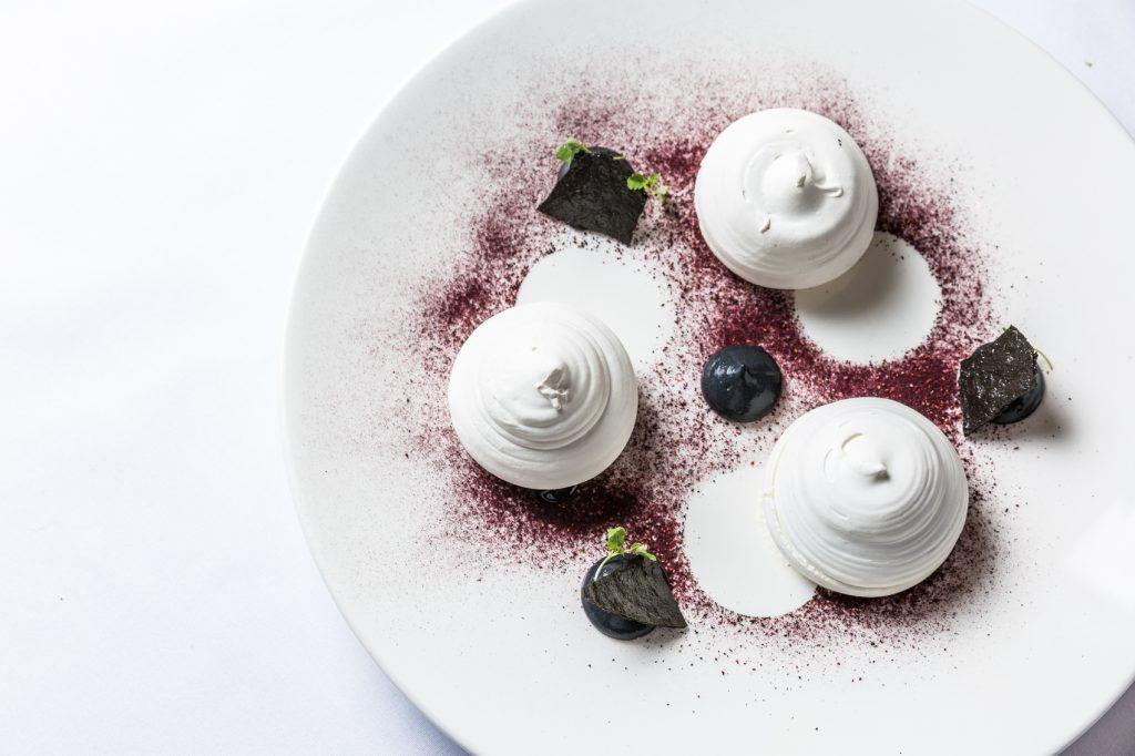 Meringue cherry dessert food photography